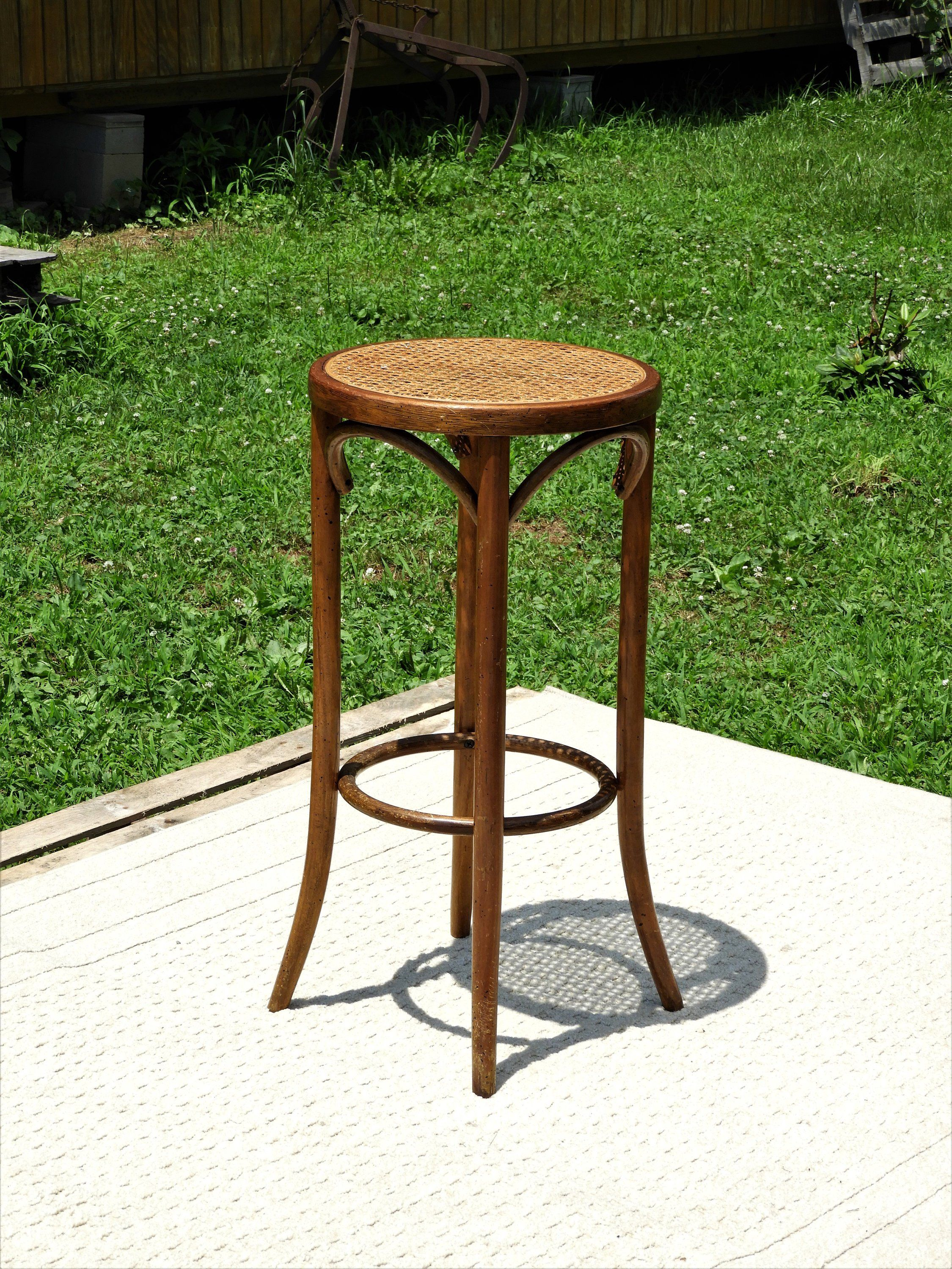 Vintage Bentwood Stool Woven Rattan Stand Round Wooden Table Brown Gold Seating Decorative Wood Accent Distressed Decorations By Vintagedecoraddict