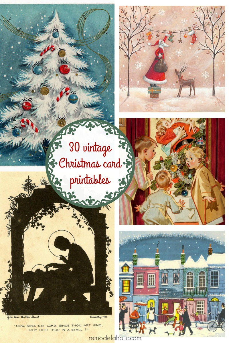 free vintage christmas card printable images frame these