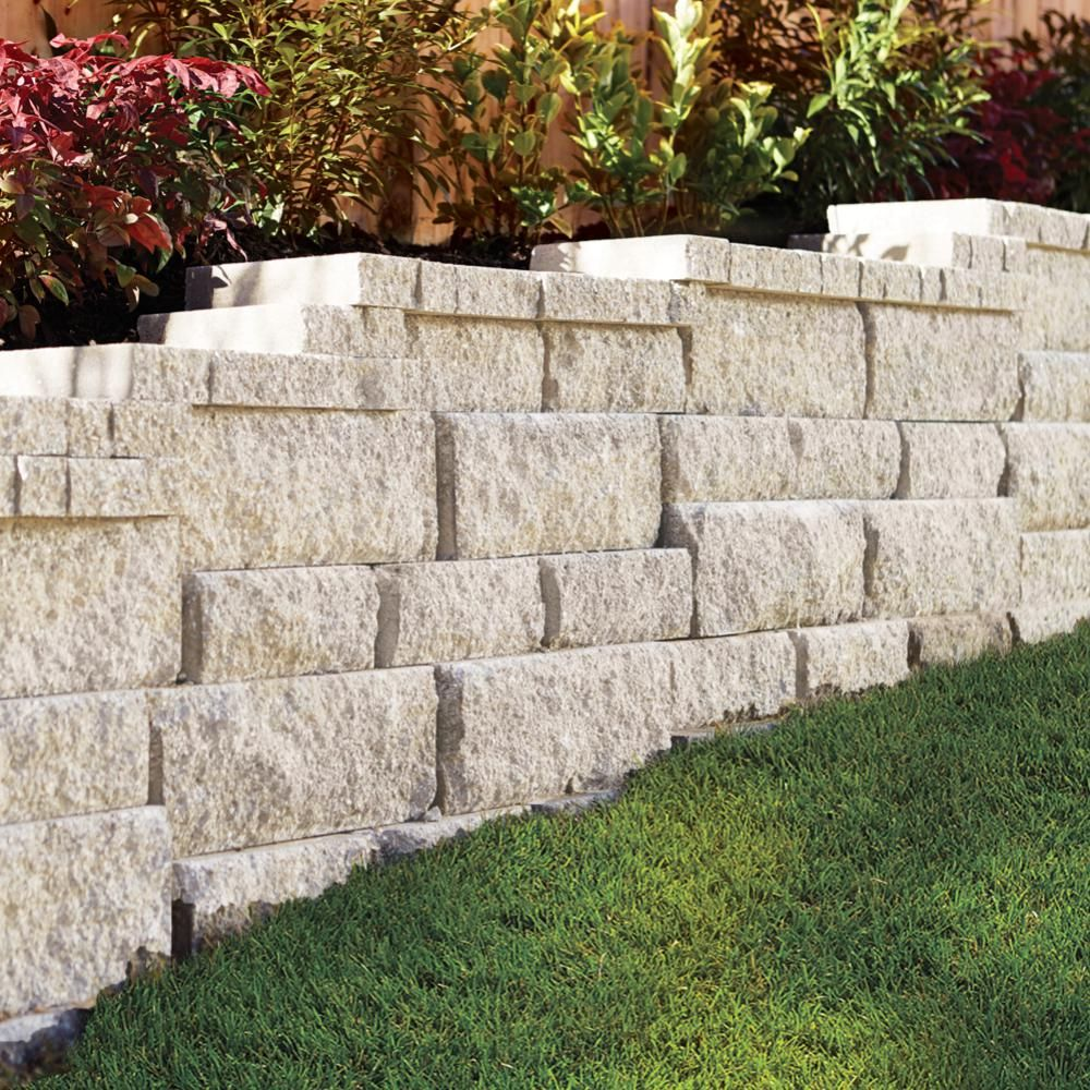 Pavestone Rockwall 7 In L X 17 44 In W X 6 In H Large Limestone Retaining Wall Block 48 Pieces 34 9 Sq Ft Pallet 79808 The Home Depot Concrete Retaining Walls Landscaping Retaining Walls Sloped Garden