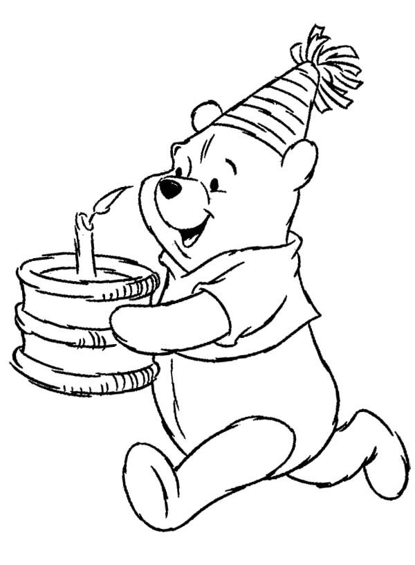 winnie the pooh birthday coloring page - Pooh Bear Coloring Pages Birthday