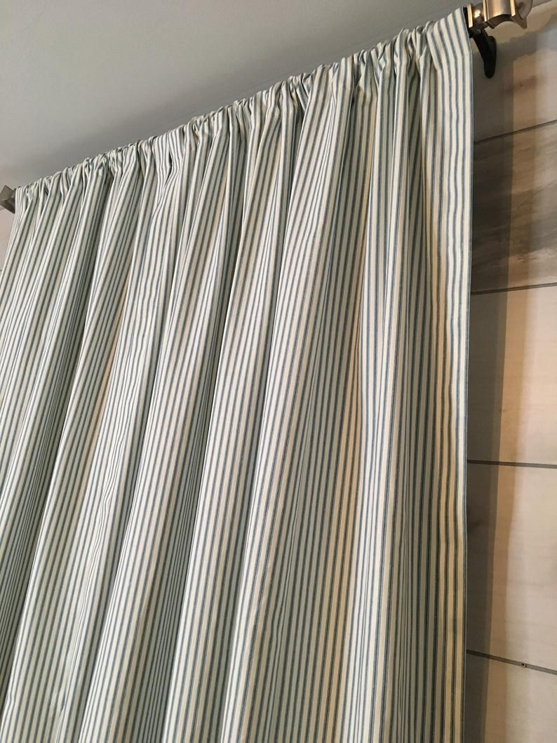 Farmhouse Ticking Stripe Grommet Curtains Drapes Or Valance 17 Colors Custom Curtains Ships In 5 10 Biz Days