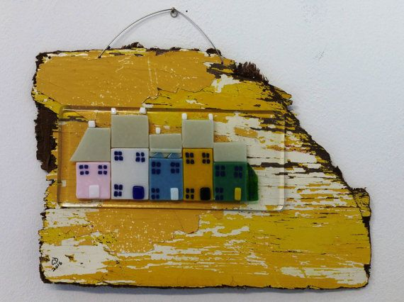 Coastal Seaside Cottages Fused Glass Wall Art by DilleyCrafts ...