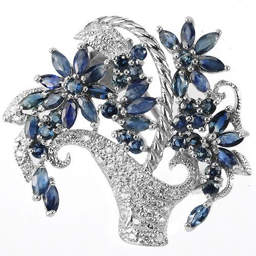 NATURAL AAA BLUE SAPPHIRE & WHITE CZ STERLING 925 SILVER BASKETS FLOWER BROOCH