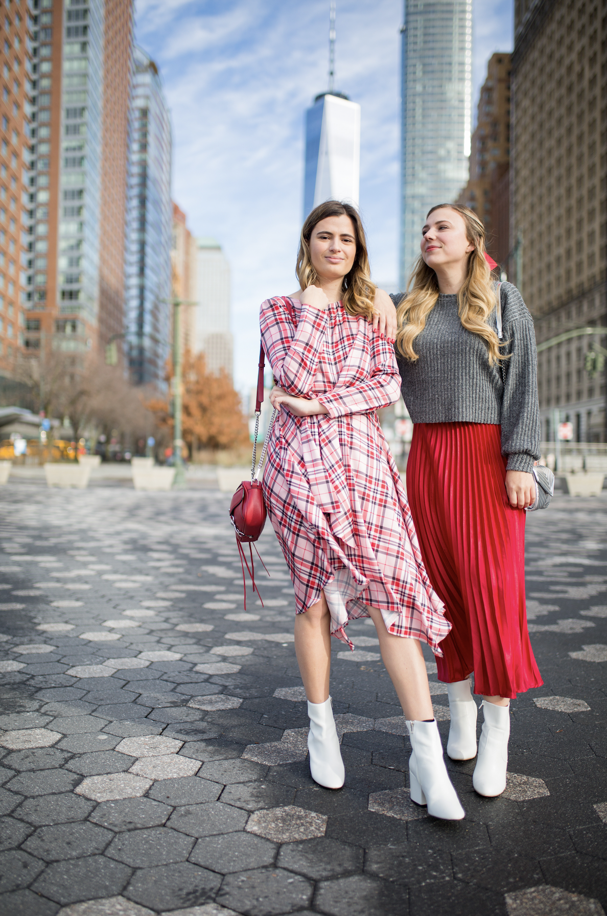 Red Pleated Skirt Outfit Plaid Midi Dress Outfit Holiday Outfit Ideas Christmas Dresses Christmas Outfit Ideas Nyc Street Style Winter Holiday Party [ 1792 x 1188 Pixel ]