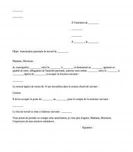 Autorisation Parentale De Travail D Un Mineur Modele Modeles De Lettres Lettre A Parental
