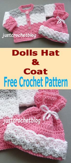 Free crochet pattern for dolls coat-hat from #justcrochetblog ...