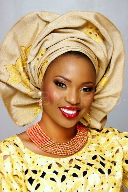 All About African Weddings, Beautiful African bride in Yellow wedding dress and headdress.: