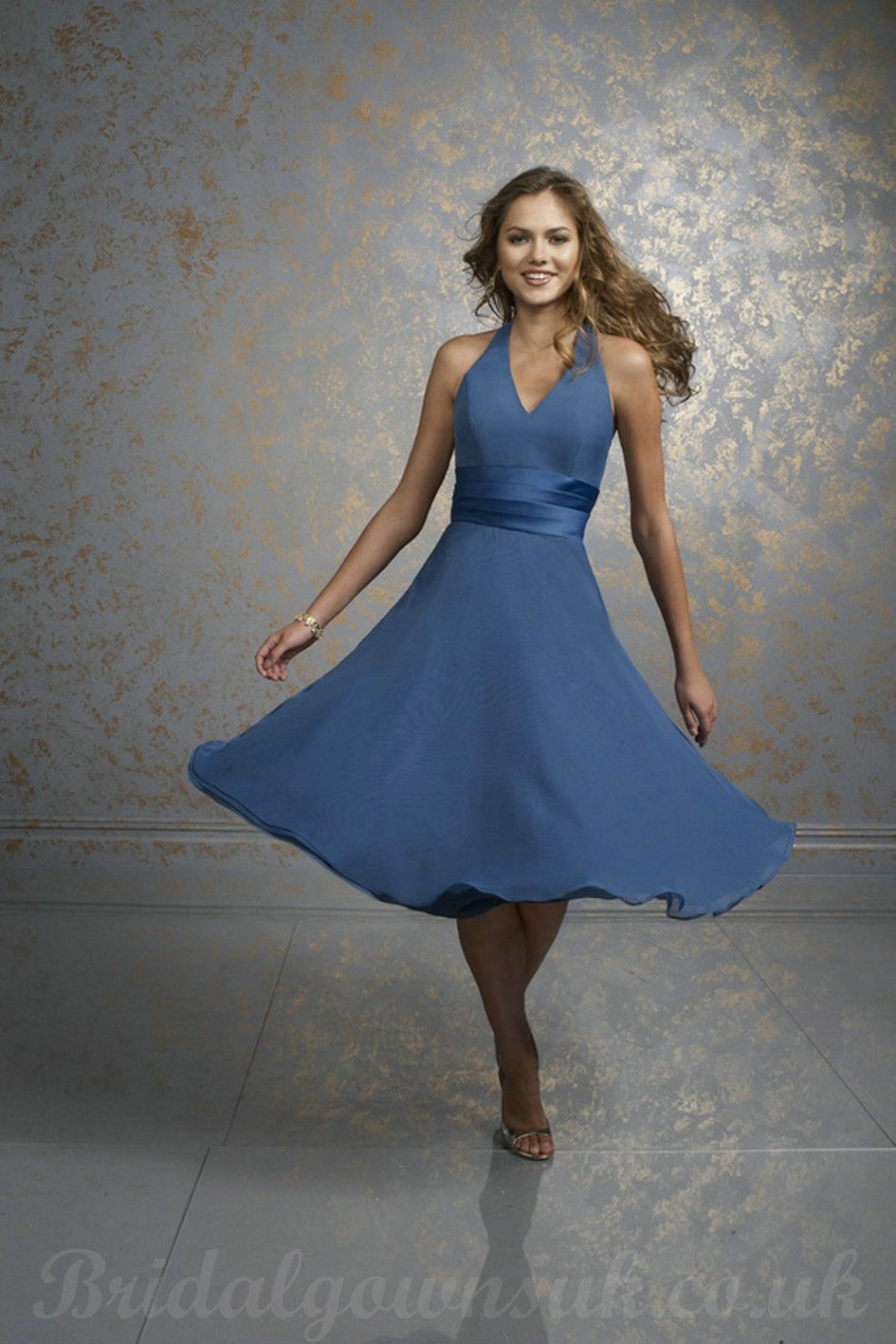V Neck Halter Satin Bands Chiffon Knee Length Bridesmaid Dresses ...