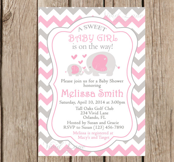 Elephants Baby Shower Invitation, Printable, Girl Baby Shower, Pink And Grey  Baby Shower
