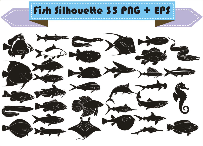 Fish Shark Dragon Fly Swordfish Trout Hammerhead Silhouette Etsy Silhouette Vector Fish Silhouette Silhouette