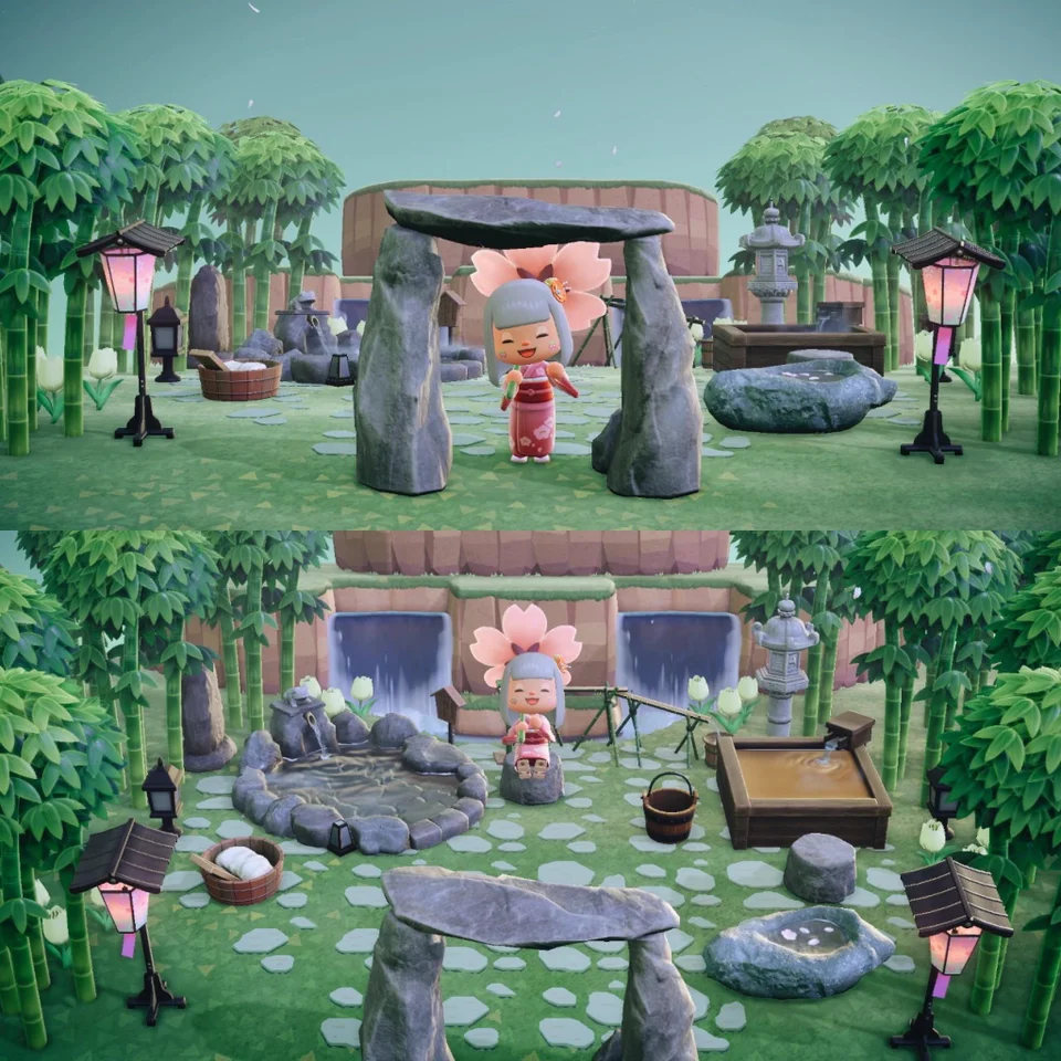 finally made my outdoor spa area ( ^ω^ ) : AnimalCrossing ...