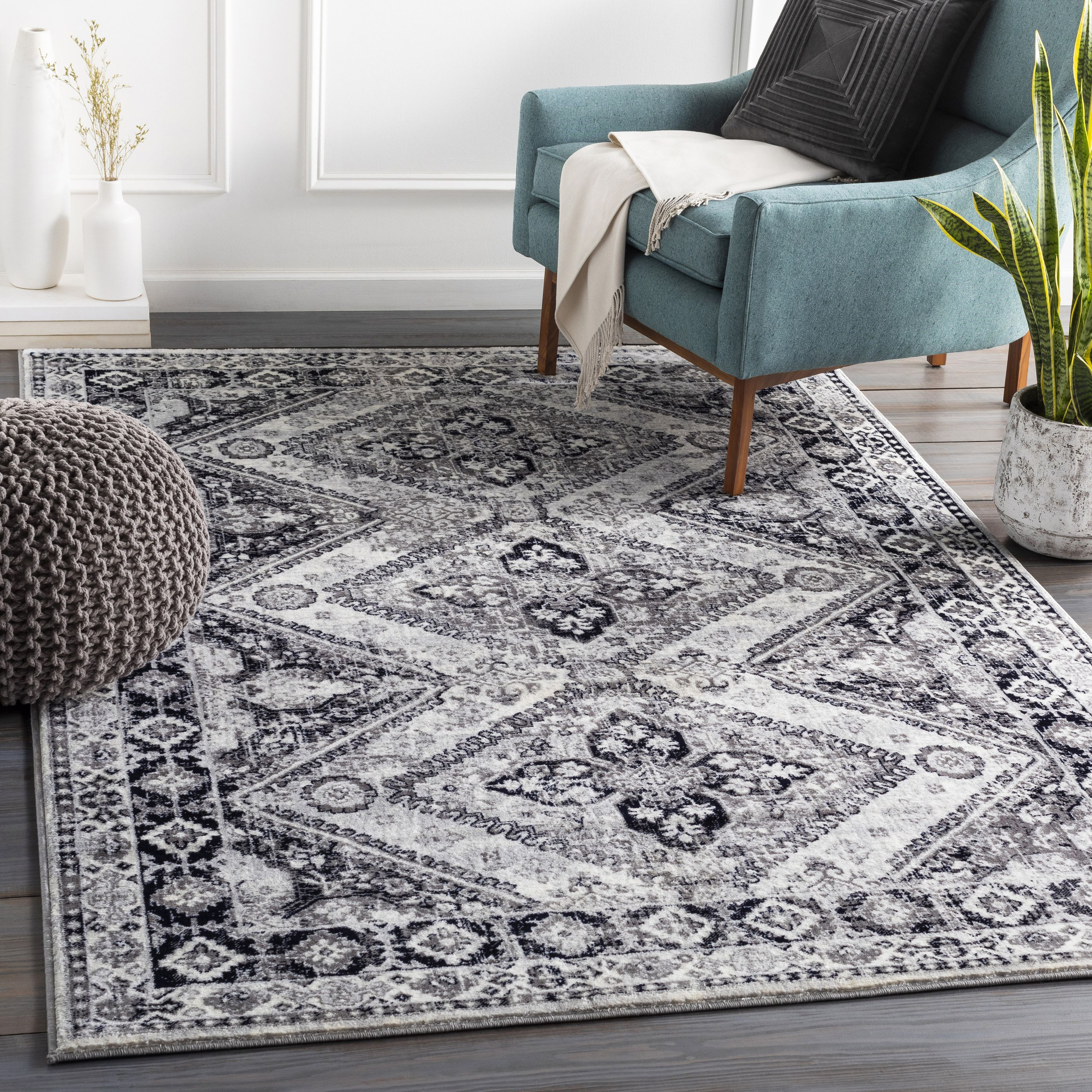 Wnl 2313 Rug Color Charcoal Navy Silver Gray White Black Size 9 3 X 12 3 Area Rugs Rugs Online Home Decor Stores