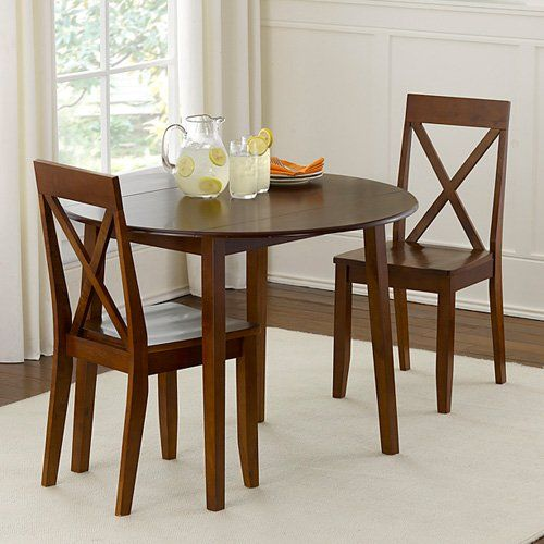 Have To Have It Linon Urban Drop Leaf Walnut Dining Set 229 98 Http Www Hayneedle C Small Dining Room Table Round Dining Table Sets Kitchen Table Settings