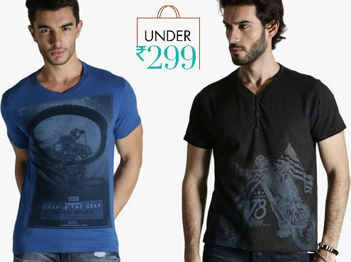 Roadster, Status & More Men T-Shirts Under Rs.299