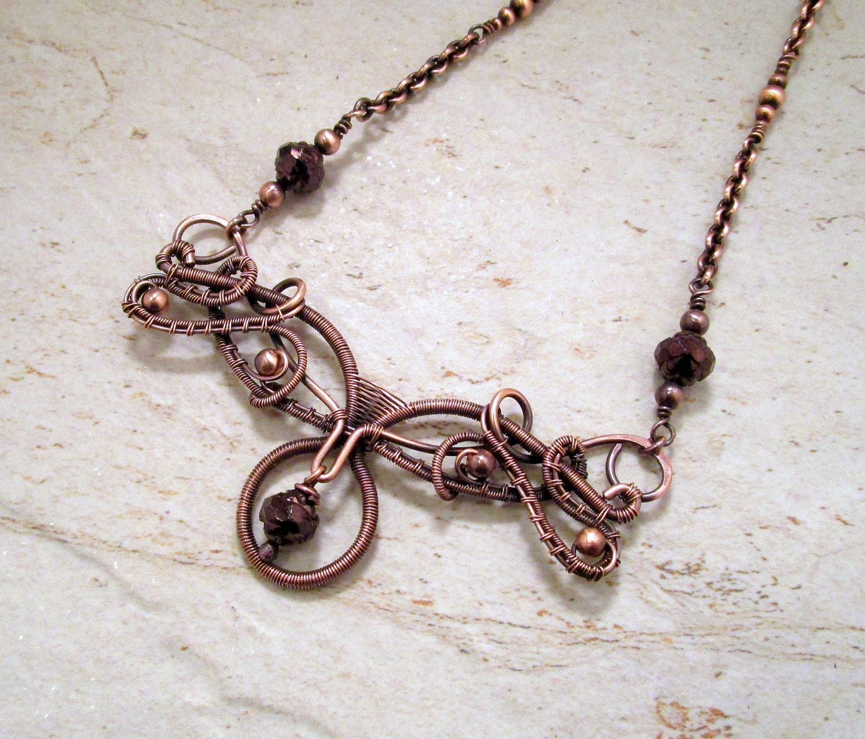 Copper Choker Necklace / Purple Wire Wrap Necklace / 7th Anniversary ...