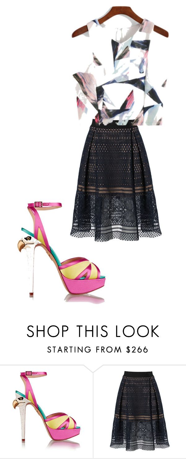 """""""Untitled #62"""" by singingbirdsandsunnyskies ❤ liked on Polyvore featuring Charlotte Olympia, self-portrait, white, Pink, black, skirt and Heels"""