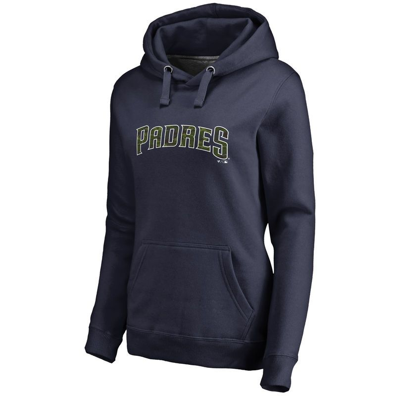657e59e396 Women s Fanatics Branded Navy San Diego Padres Plus Size Memorial Wordmark  Pullover Hoodie