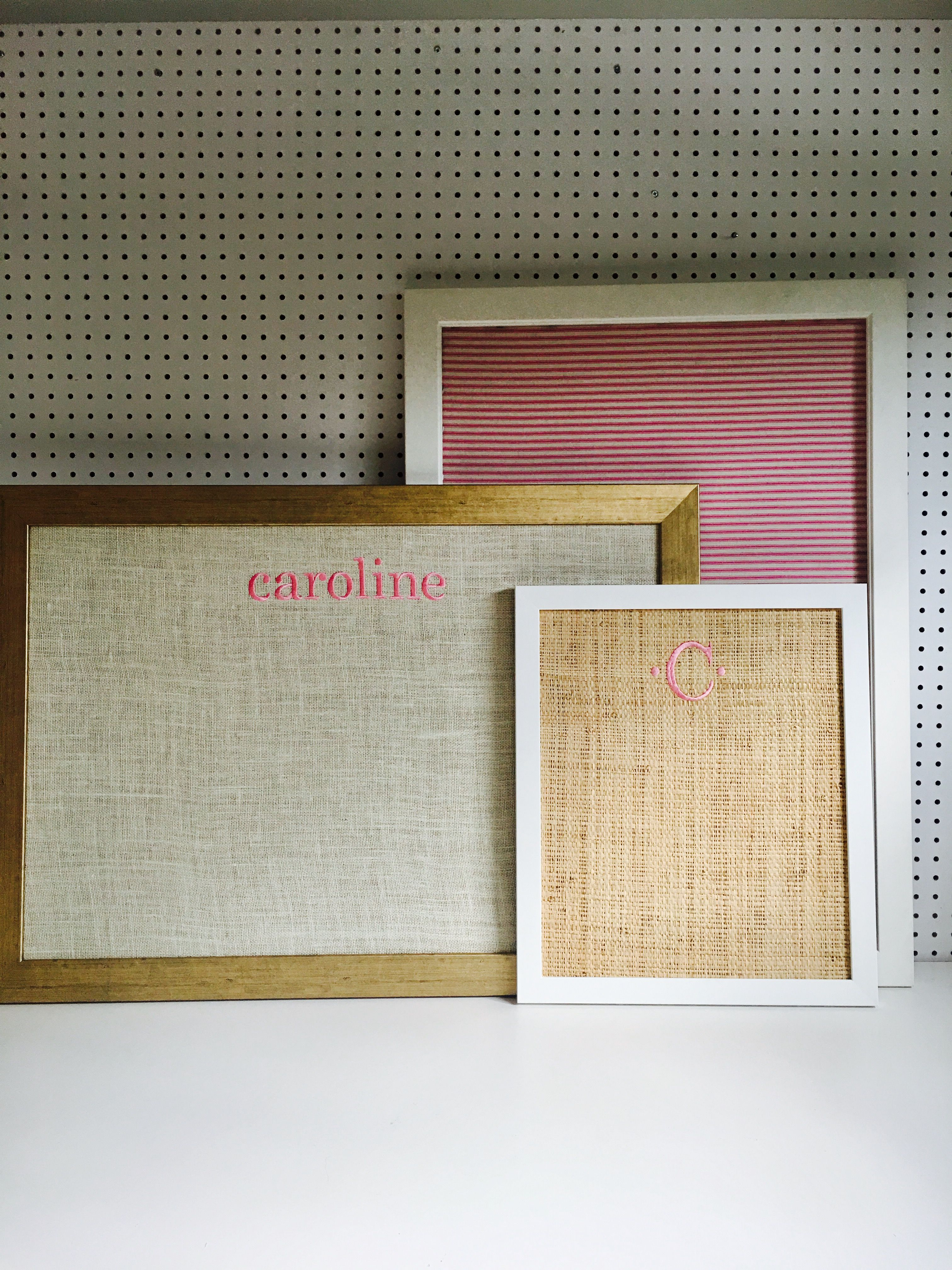 picture a beautiful raffia or burlap background bulletin board with classic embroidered initials or sea inspired