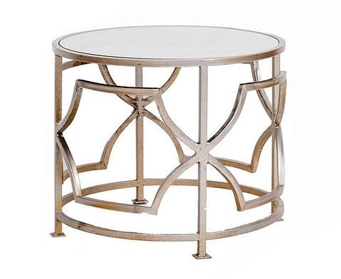 Brushed Gold Geometric Side Table