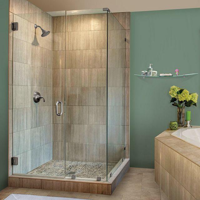This Glass Shower Door Has 90 Degree Shower Frameless Shower Doors Chrome Finish Clear Glass Glass Shower Glass Shower Doors Glass Shower Door Hinge