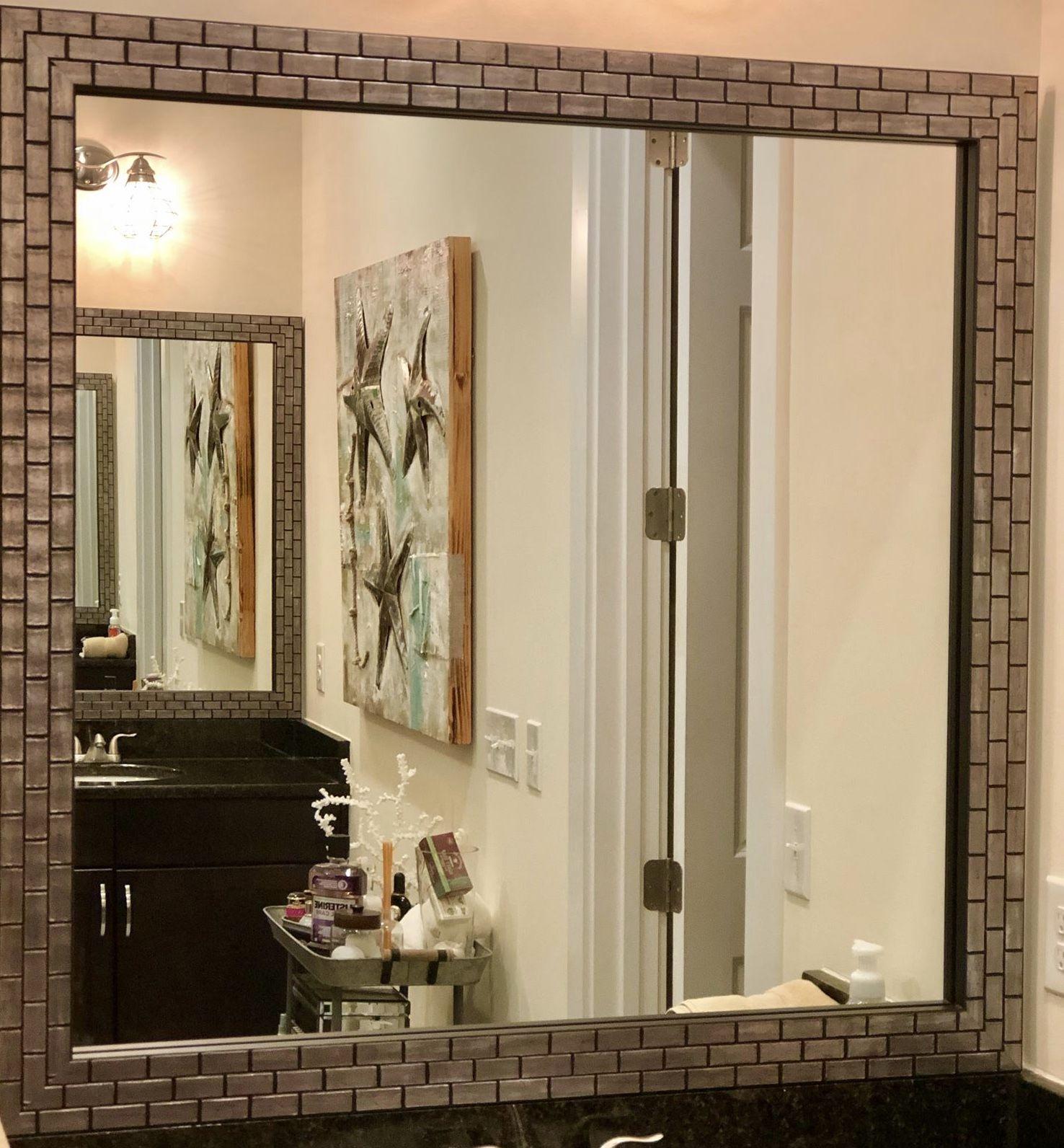 Lexington Metallic Ash Frame Bathroom Mirror Frame Bathroom Mirror Large Bathroom Mirrors