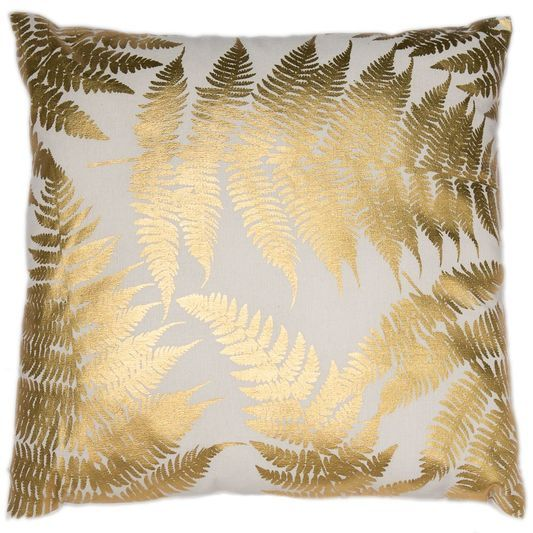 Tropical Leaves Gold Metallic Cushion | Graham & Brown UK
