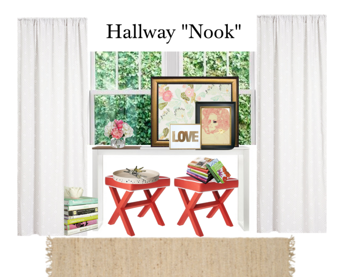 "Hallway ""Nook"" by Playdates + Pearls www.playdatesandpearls.com"