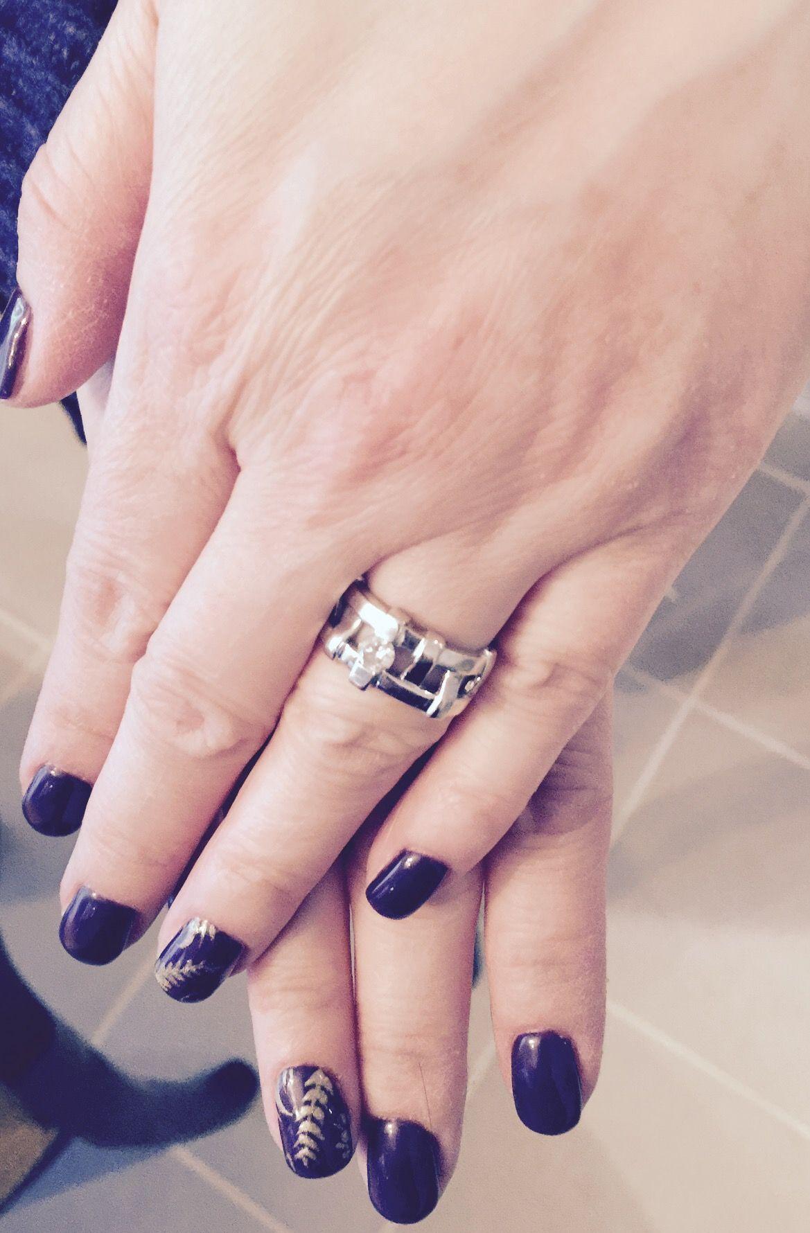 Golden leaves nail art design OPI polish | Nail art | Pinterest ...