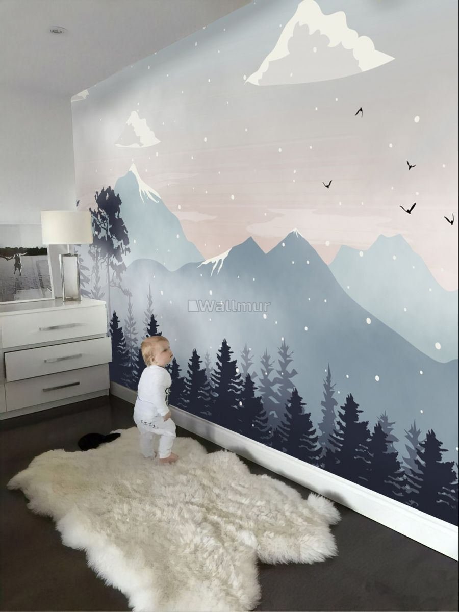3D Foggy Mountain Silver Trees 31 Wall Paper Wall Print Decal Wall AJ Wall Paper