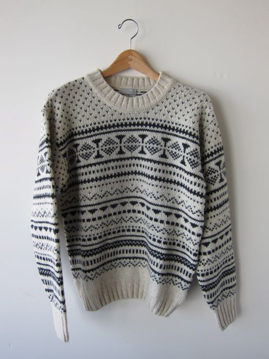 Margaret Howell, Fair Isle sweater, wool/yak, natural and charcoal ...