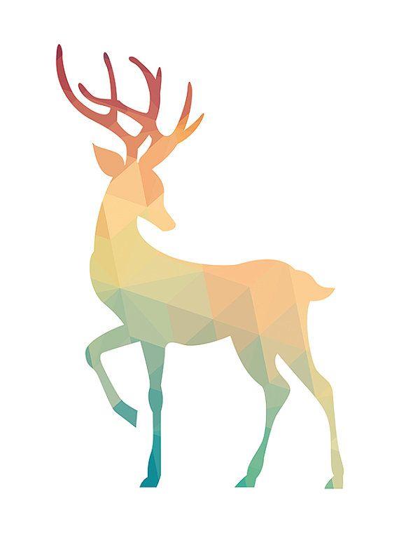 Deer Geometrical Turquoise & Coral Print by PinkLemonArts on Etsy
