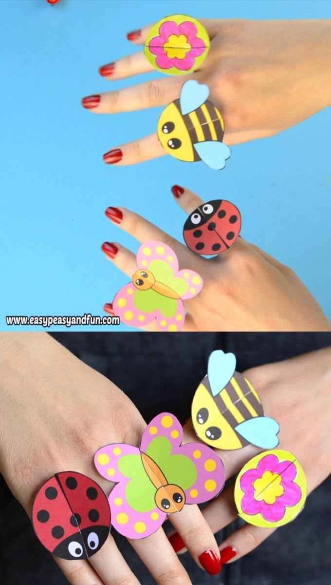 Printable Bug Paper Rings for Kids - Craft Template - Easy Peasy and Fun #travelbugs