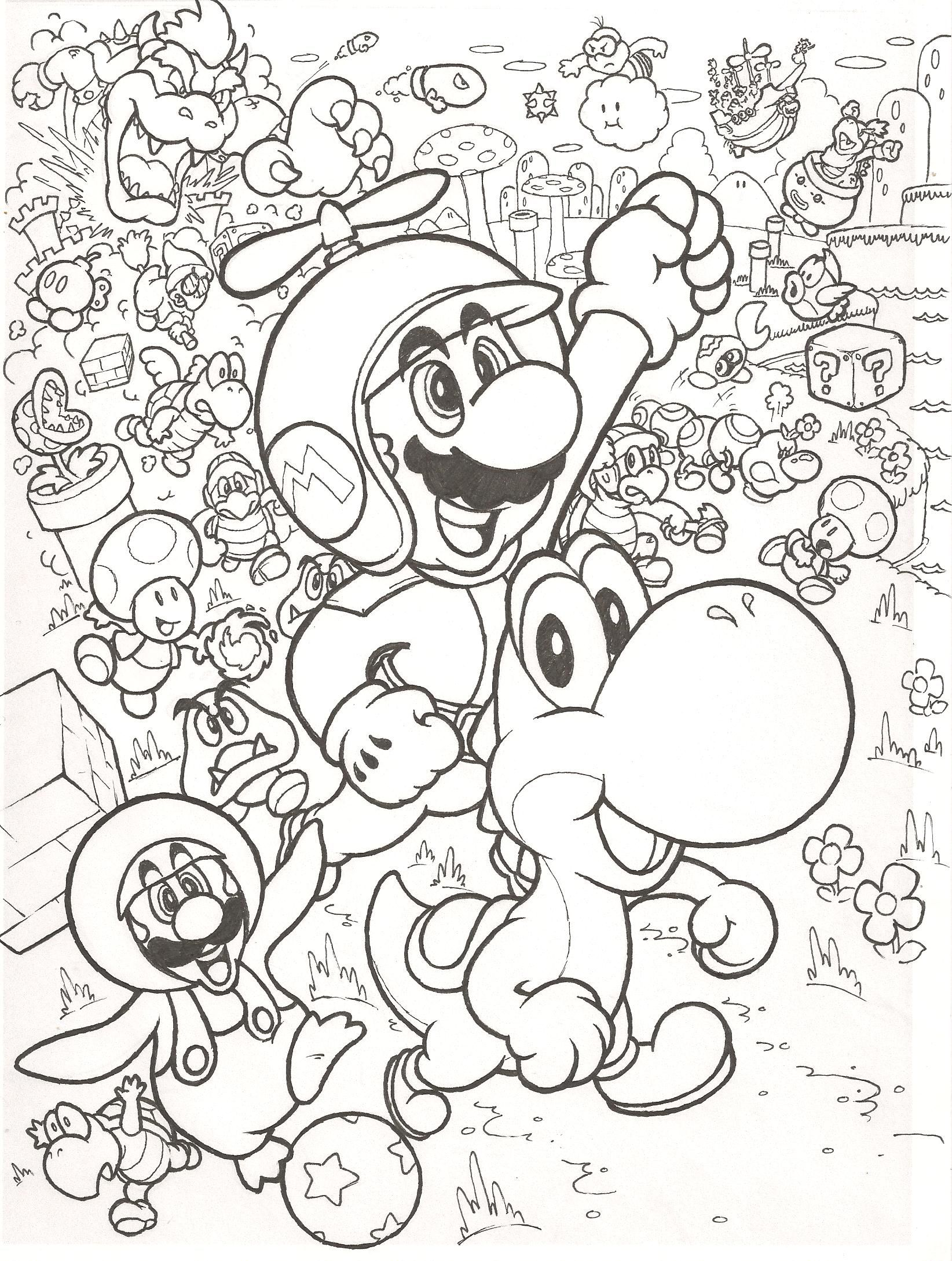 Coloring pages for kids mario bros - Super Mario Bros Coloring Pages Free Large Images