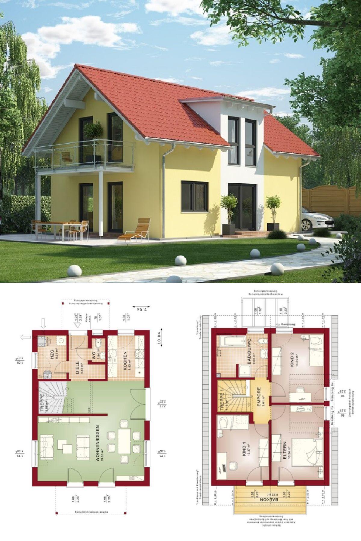 Häufig Einfamilienhaus mit Satteldach Putz Fassade gelb - Haus Grundriss MP55