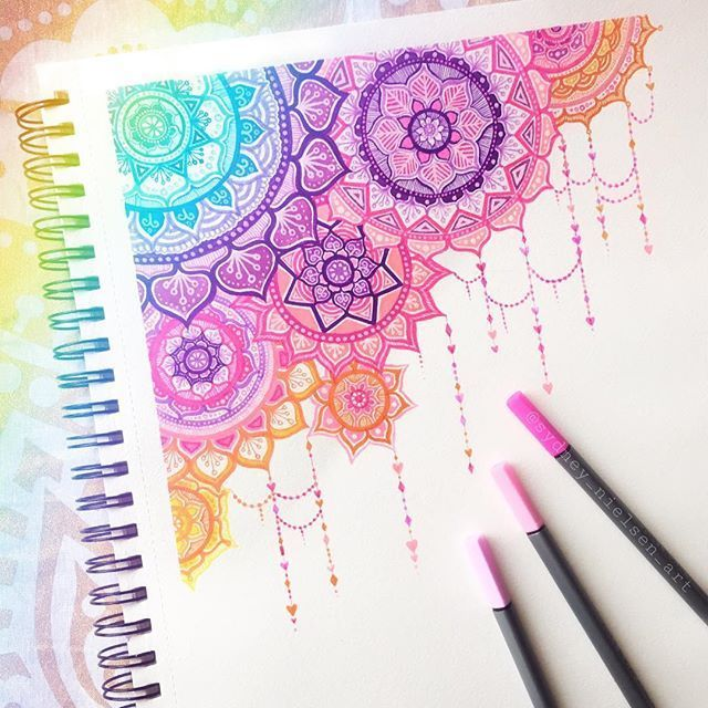 """Photo of Sydney Nielsen on Instagram: """"Mandala doodle! 🌈 made with @artezaofficial Fineliner pens, TwiMarkers & Mixed media sketchbook 🎨 . All these products are lovely! 😊 the…"""""""