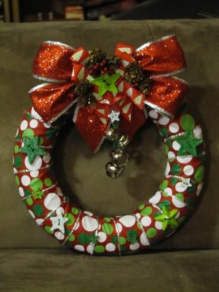 Christmas ribbon wreath Could use any ribbon to match season though