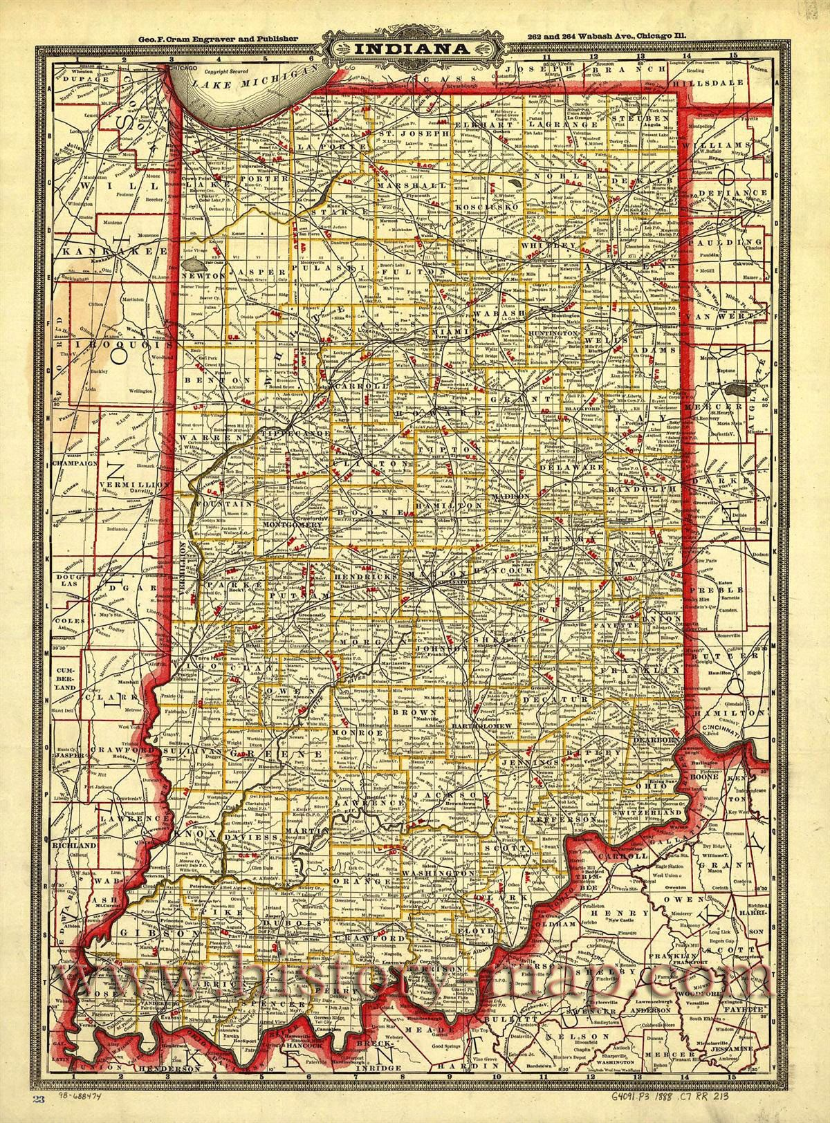 Township And Railroad Map Of Indiana Taken In Shows Railroad - 1888 us map