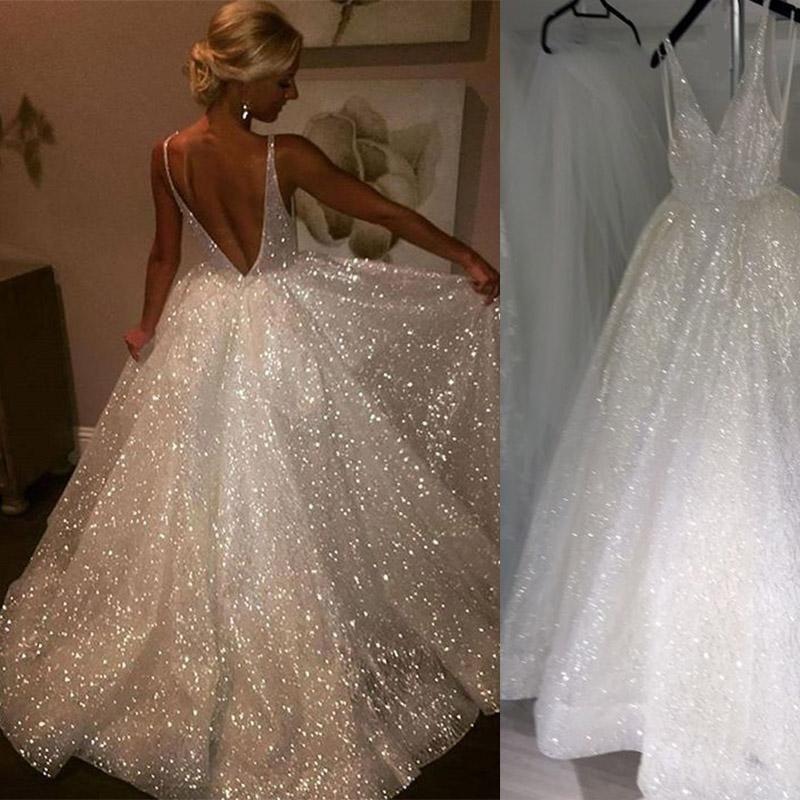 Women/'s V Neck Bling Bling Wedding Dress for Bride Formal Dress Custom 2-4-6+++