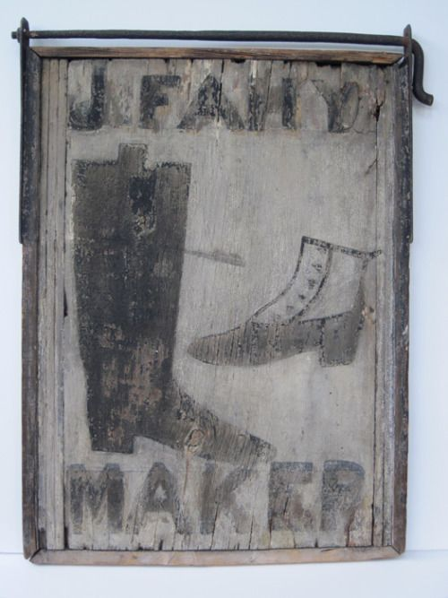 antique boot maker sign, would have been hung outside boot shop doorway