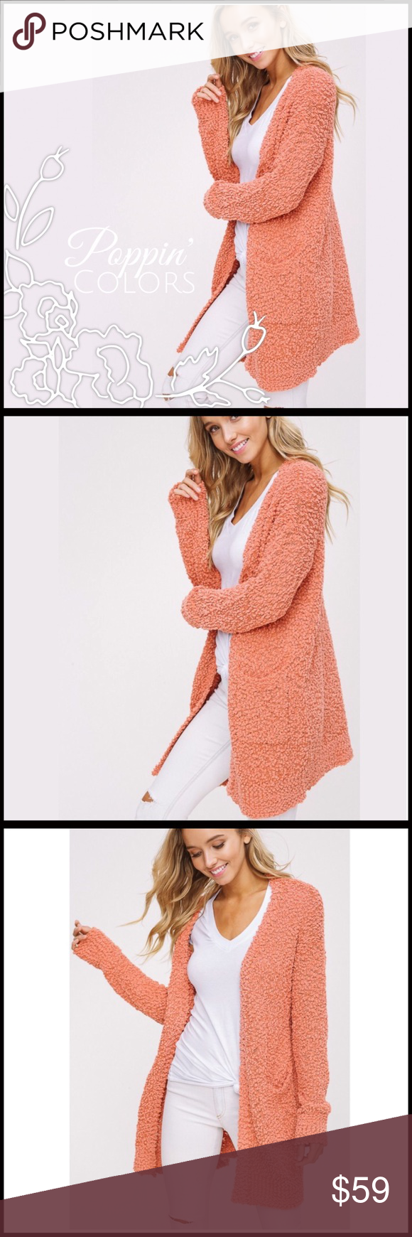 c4b11a4d162432 ... Chunky knit open cardigan - Soft popcorn texture - Drop shoulder with  long sleeves - 2 front pockets - Model is 5' 9