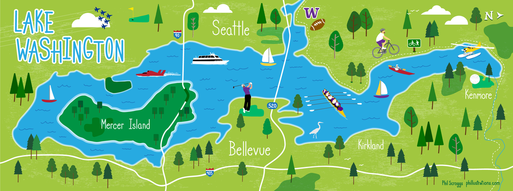 Map illustration of Seattle Lake Washington phillustrations