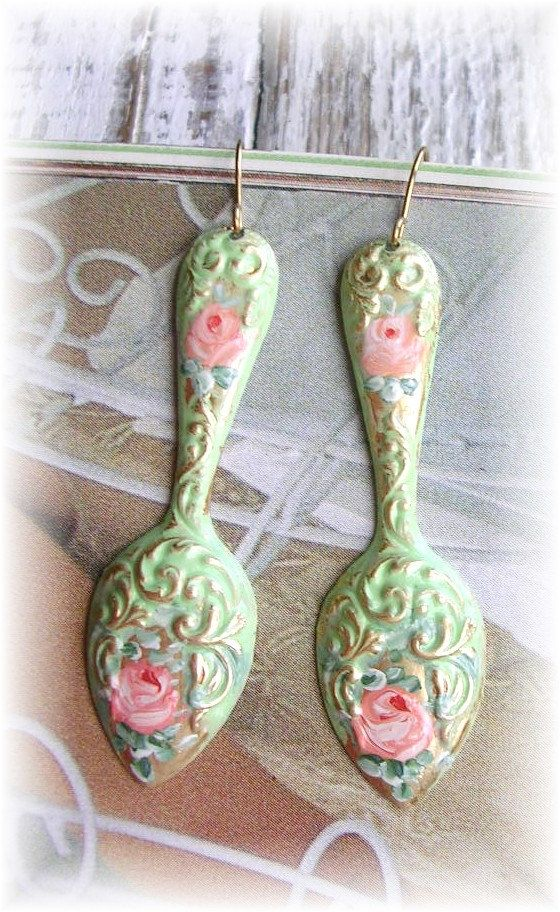 Antique Style Brass Spoon Earrings Painted by TheVintageHeart