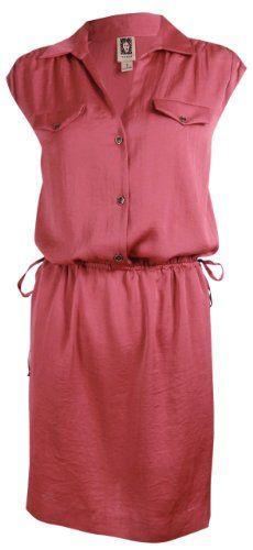Anne Klein Women's Washed Satin Shirt Dress, Blush, Small