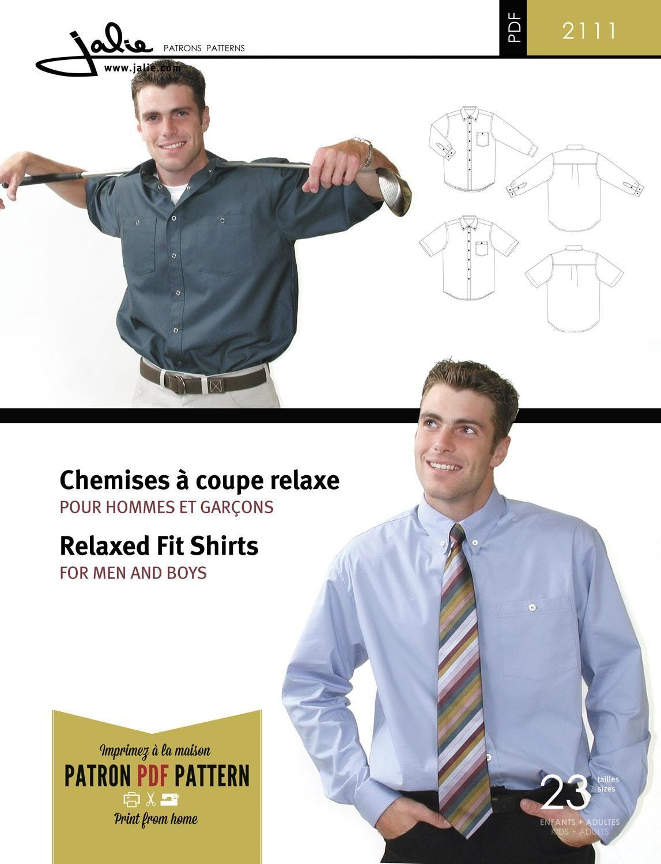 Jalie 2111 Men\'s Shirts PDF Pattern | PDF Patterns | Pinterest