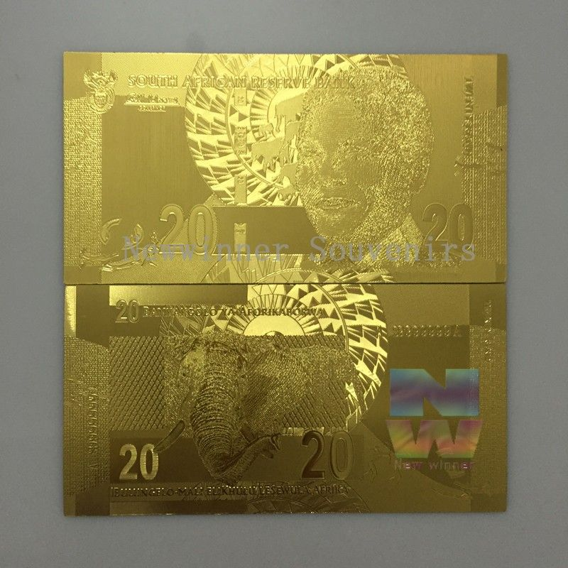 10pc/lot South Africa Animal Elephant Banknote president Mandela 20 Rand paper money Gold Foil plated Banknotes Creative Gift    Custom design note:  1 Order in our store or send the mail to us .  2 tell us your minds and send the logo design .  3 draw the artwork and confirm it  4 any thing is ok .make a payment and start to product your design .