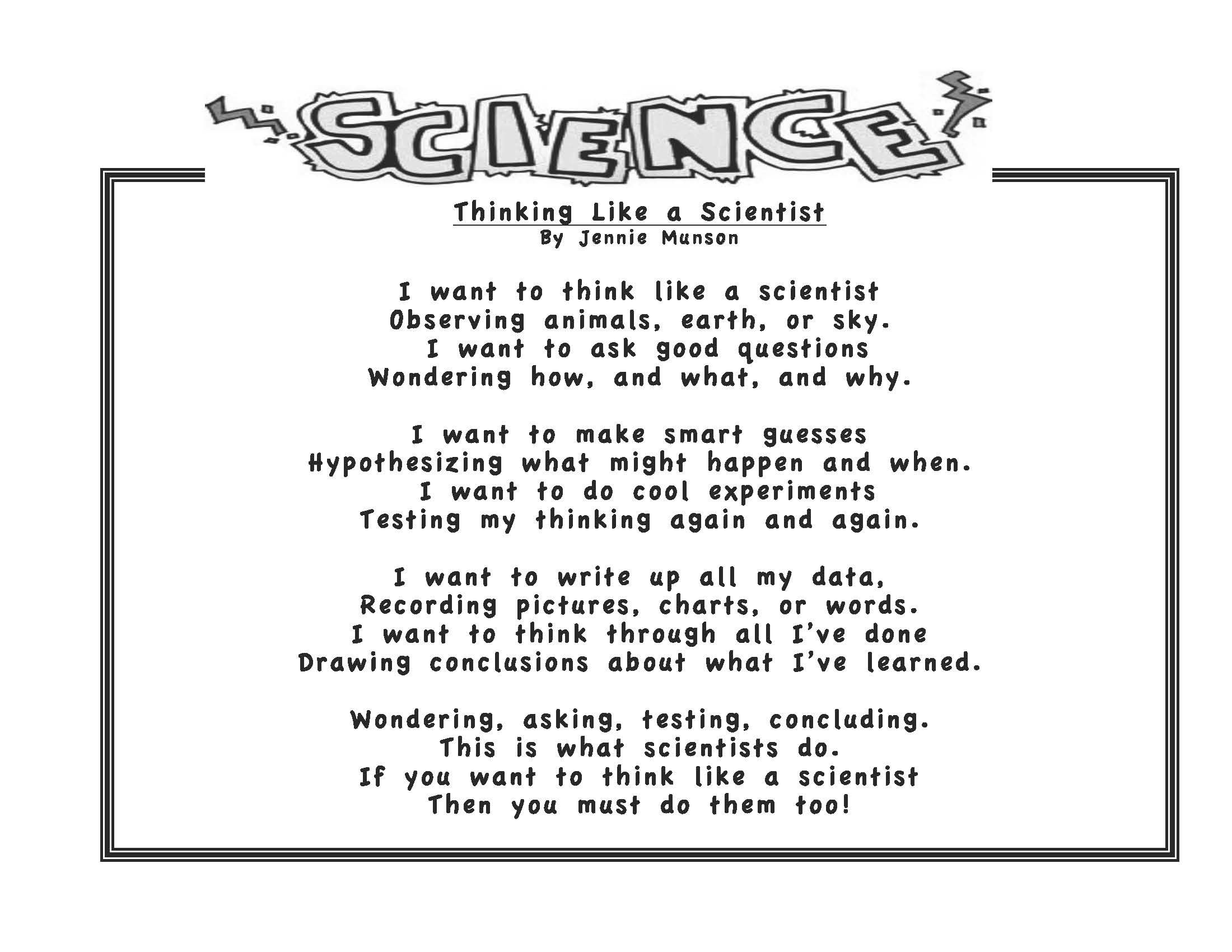 Scientific Process Poem For Elementary Kids