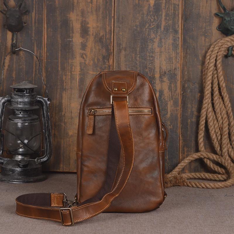 f3579927ca Handmade Men s Leather Messenger Outdoor Chest Bag Men Sling Shoulder Bag  in Vintage Brown 14132 - Vintage Brown