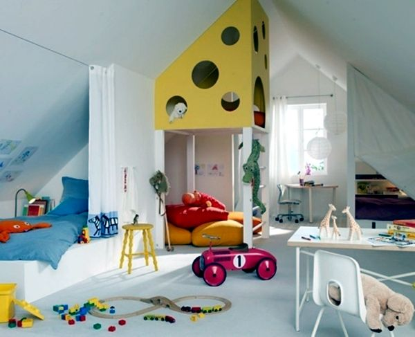 23 decorating ideas for kids room with pitched roof | dachboden