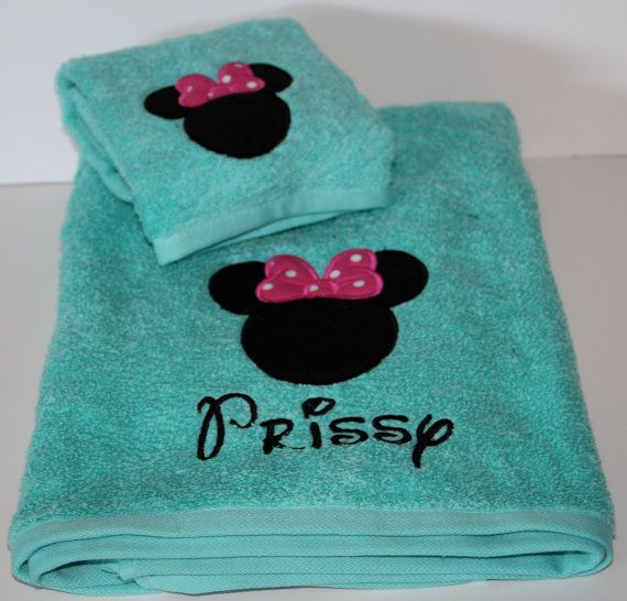 Minnie mouse bath towel and hand towel labors de bany for Apliques para toallas