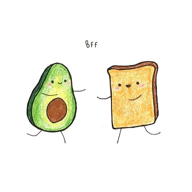Avocado and Toast Friendship Illustration